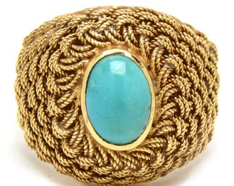 PRICE REDUCED - 18K Vintage Turquoise Woven Ring