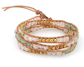 Seed bead and semi precious wrap bracelet with button closure