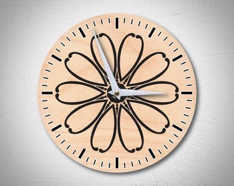 Mandala Clock, Simple Clock, Wood Clock, Flower Clock, Minimal Clock, Natural Clock, Modern Clock, Classic Clock, Unique Gift, MadMadeWorld