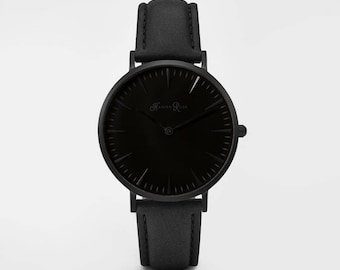 Ladies Watch, Women Leather bracelet, minimalist, gift for her, cheap leather watch, Christmas Watch, Black Leather (Black/Black)