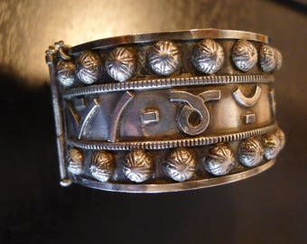 BEAUTIFUL Sterling Silver 3 punches Old 3 Silvermarks bracelet Silver Cuff Bracelet