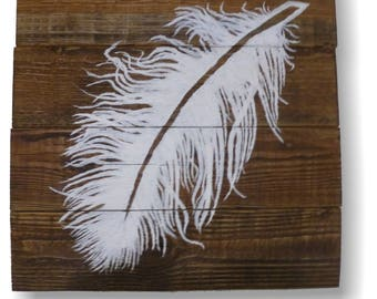 Wooden Feather Wall Art | Wall Art Feather | Wooden Feather Painted Wall Decoration