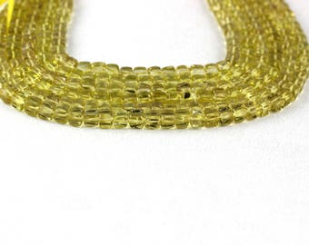 "2 strand Natural lemon cube shape 5-6mm smooth Beads 10"" Long Semiprecious Gemstone Natural Lemon Quartz, Yellow Color, Natural Lemon Beads"