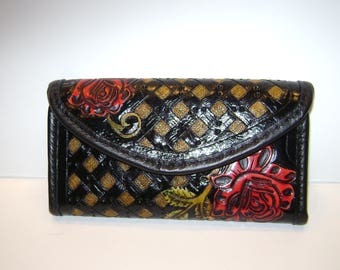 Wallet, Hand Tooled, Black