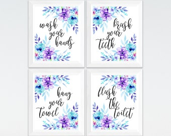 Set Of 4 Kids Bathroom Prints Wash Your Hands, Brush Your Teeth, Hang Your Towel, Flush The Toilet, Kids Bathroom Sets, Purple Blue Flower