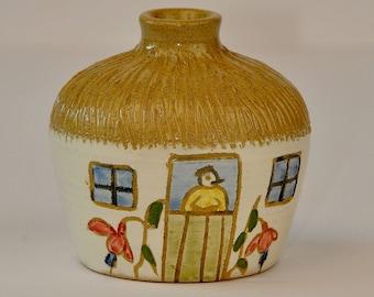 Vintage Folk Art Vase // handmade ceramic bud vase // vintage pottery // folk art pottery