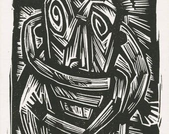 """Matted Linocut Print, """"Anxiety"""", Humor, Figurative"""