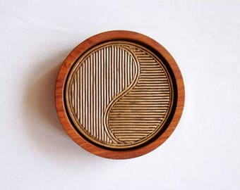Yin Yan - Tea Coasters (Set of 4 costers with wooden stand)
