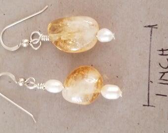 citrine-quartz nugget with fresh water pearls