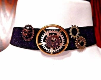 Black Velvet Steampunk Choker with Bronze, Silver, & Copper Gears 1R