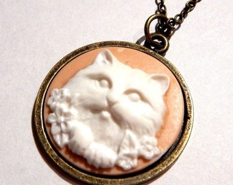 White Kitty Cat Cameo Pendant on Bronze Chain Necklace 5I