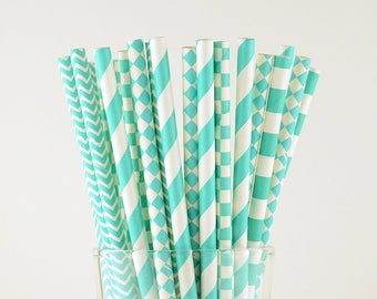 Turquoise Paper Straw Mix - Party Decor Supply - Cake Pop Sticks - Party Favor