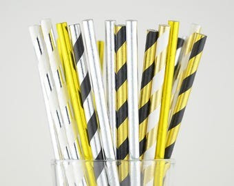 Silver/Gold Foil Mixed Striped Paper Straws - Party Decor Supply - Cake Pop Sticks - Party Favor