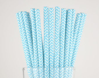 Light Blue Chevron Paper Straws - Mason Jar Straws - Party Decor Supply - Cake Pop Sticks - Party Favor