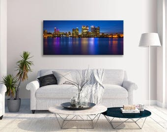 Canary Wharf Citysape Panorama Skyline Canvas Wall Art Picture Home Decor Framed