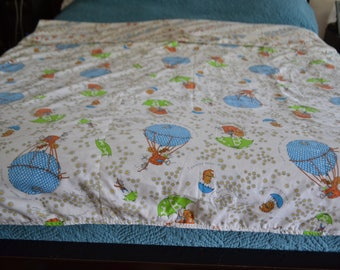 Vintage Homemade Coverlet Reversible Twin Retro 79 x 62