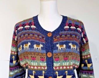 Vintage LL Bean Graphic Wool Animal Cardigan Sweater Medium