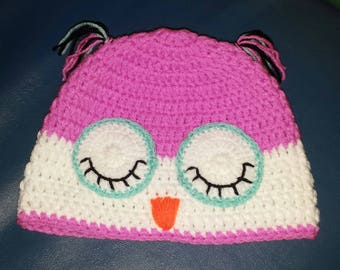 OWL knit hat for girls