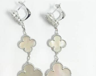 Designer Inspired Earrings Clover Silver Earrings Wedding Bridal Earrings Inspired Jewelry Four Leaf Clover Delicate Romantic Earrings
