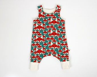 Harem romper, foxes, organic baby clothes, toddler clothes, gift for baby, gift for toddler