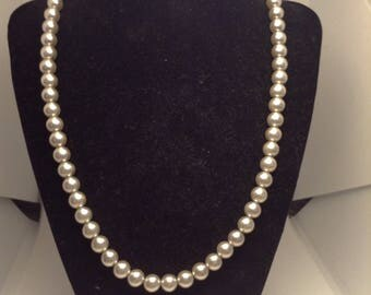 Vintage Light Grey Faux Pearl Necklace