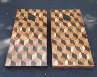 corn hole boards bean bag game cornhole cornhole boards walnut - Cornhole Sets