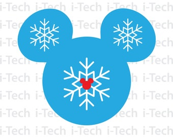 Mickey Snowflake SVG, Snowflake SVG, Disney Christmas SVG, Cricut, Silhouette Cut Files svg, Dxf, Instant Download