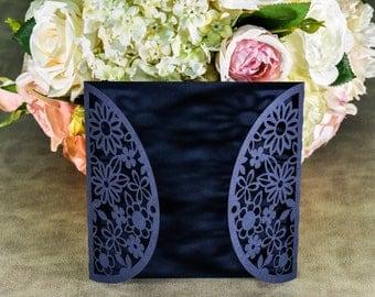 10pcs Laser Cut Invitations flowers ,wedding Invitations , laser Invitations,navy blue, Invitations,Invitations laser cutting,300g