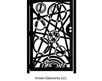Metal Art Gate - Decorative Steel - Reverb - Geometric Gate - Steel Panel Art - Outdoor Gate - Modern - Psychedelic Design
