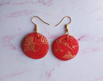 Round Red & Gold Dangle Earrings - Polymer Clay, Jewelry, Handmade