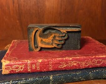 Vintage Wood Carved Pointing Finger Letterpress Printing Block