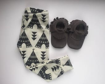 Baby Leggings, Toddler Leggings, Teepee Leggings, Tipi Leggings, Tribal, Unisex Leggings, Baby Boy Leggings, Baby Girl Leggings, monochrome