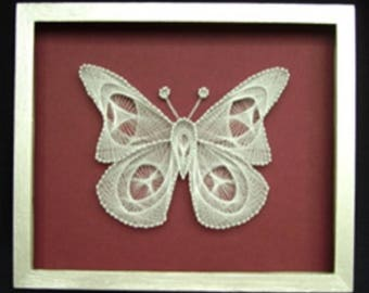 Well decor, Decorative panel, Home deco, Art work, collections, collectible art, collectibles, picture, silk thread, Unique, butterfly
