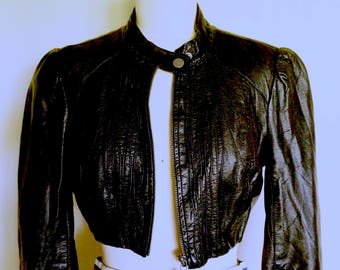 Black Vintage Leather Cropped Jacket