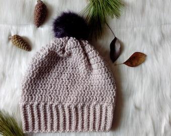 rose gold crochet beanie - crocheted winter hat