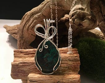 Peruvian Turquoise Sterling Silver Wire Wrapped Pendant