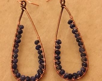 Copper and Sodalite Wrapped Teardrop Earrings