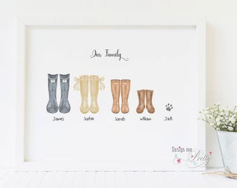 Family Wellington - Wellies neutral print - New Home - Our Family
