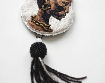 Embroidered portrait, Embroidered brooch, Handmade.