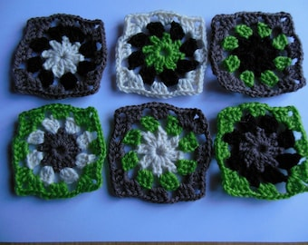 Crochet granny set of 6 vintage furnished squares