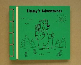 Personalized Kid's Photo Album Handmade Scrapbook, Birthday Boy Girl Adventures, Custom Gift, Cute Cartoon Drawing, Bear Hiking