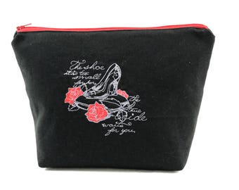 Cindarella Inspired Embroidered Makeup Bag