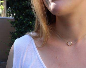 Peach Bezel Gold Necklace
