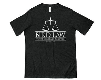 Bird Law T-shirt Design   Funny Tees   Graphic Tees   Philly Tee Shirt   Black/Charcoal   Next Level 6200 Poly/Cotton T-Shirt