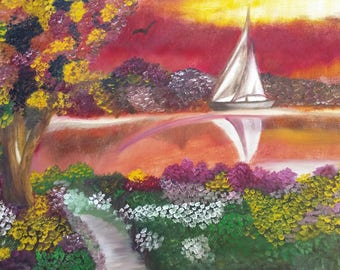 Spring Sailboat - Oil Painting
