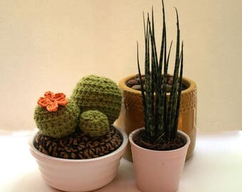 Hand Crochet Cactus with Orange flower and White ceramic pot