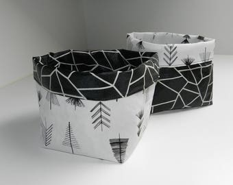 Set of 2 baskets / planters / tidy cloth laminated reversible look wrinkled paper
