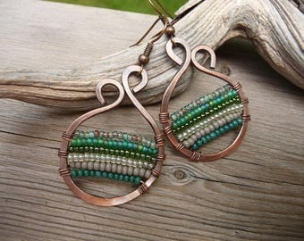 boho earrings, copper wire jewelry, woven copper earrings, seed bead earrings, boho jewelry, colorful earrings wire wrapped jewelry handmade