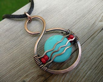 turquoise pendant, wire wrapped stone, jewelry for womens gift, turquoise and red necklace, wire wrapped jewelry, unique necklaces for women