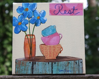 Tea Cups and Flowers Mixed Media on Canvas